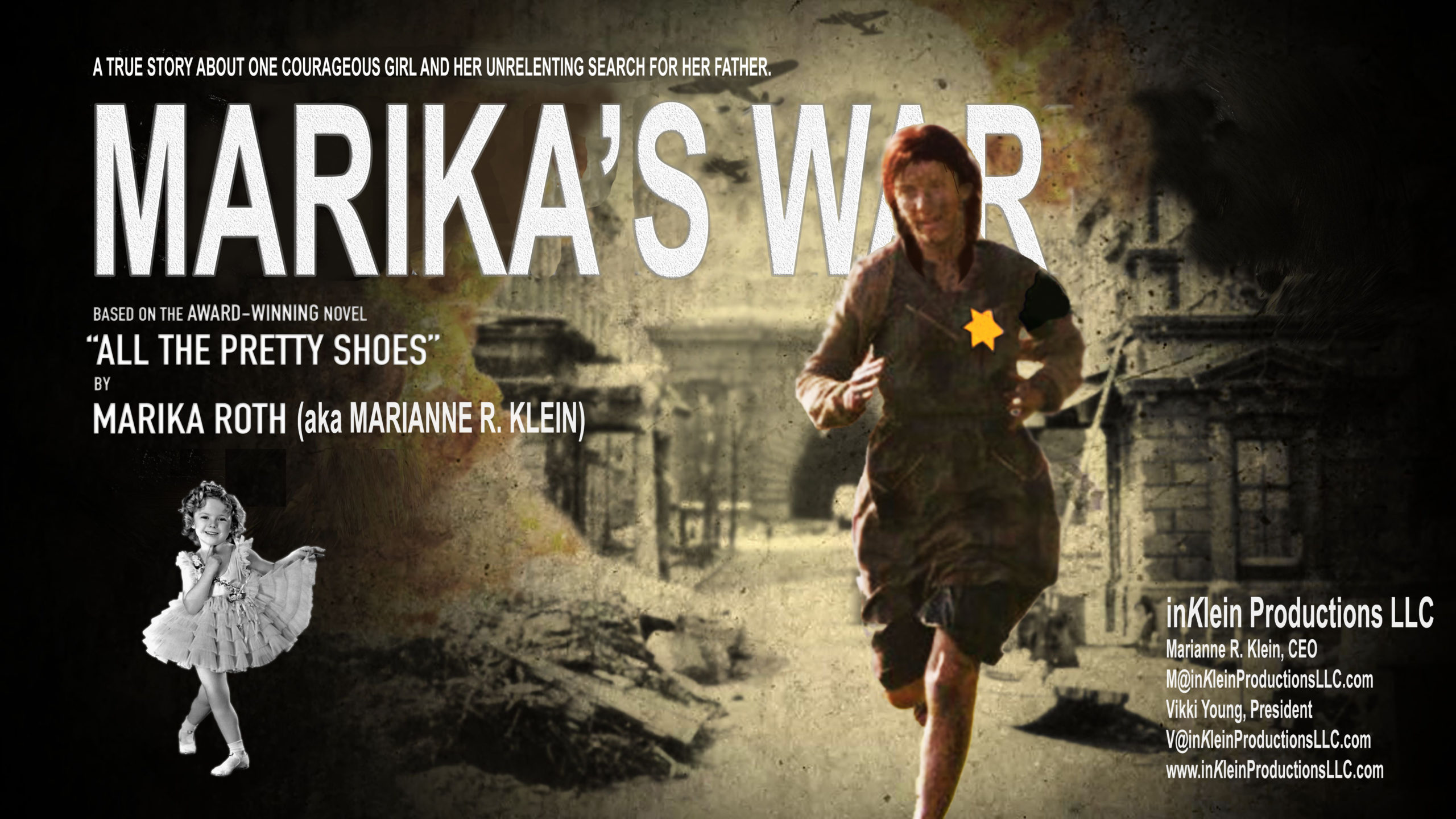 Poster image for screenplay, Marika's war, featuring woman running with bright yellow star of David, contrasted by Shirley Temple in left background.
