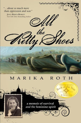 Image of the book cover featuring shoes from WWII era in muted blue color tones and an image of a young Marika Roth in braids.