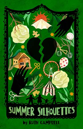 Book cover drawing of a black heart in two cracked pieces surrounded by images including two separated black hands and colorful images including a house, and white roses.